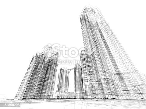 istock Skyscraper  Architecture Blueprint  Wire Frame 184598293