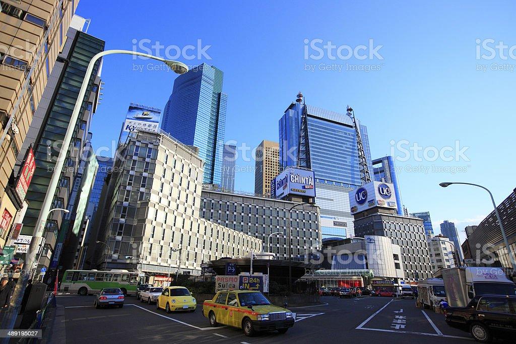 Skyscraper at Exit Station of JR Shinbashi stock photo