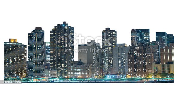 Skyscraper at night, high-rise building in Lower Manhattan, New York City, isolated white background with clipping path