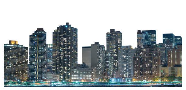 Skyscraper at night, high-rise building in Lower Manhattan, New York City stock photo