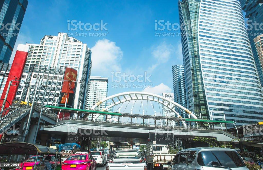 Skyscraper at Sathorn Road, Central business of Bangkok Thailand zbiór zdjęć royalty-free
