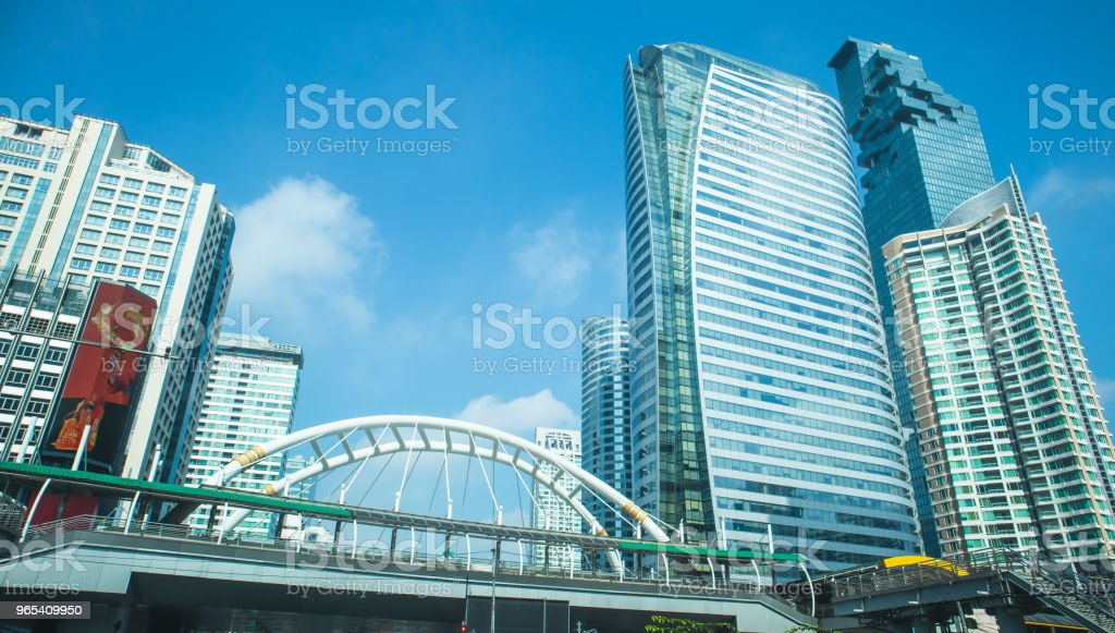 Skyscraper at Sathorn Road, Central business of Bangkok Thailand royalty-free stock photo