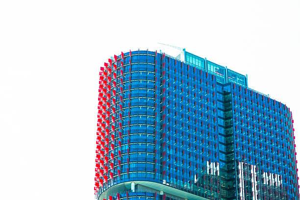 skyscraper, background with copy space, barangaroo sydney australia - barangaroo stock photos and pictures