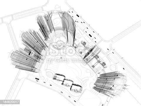 184405668 istock photo Skyscraper  Blueprint  Wire Frame 184620017