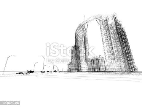 184405668 istock photo Skyscraper  Blueprint  Wire Frame 184623030