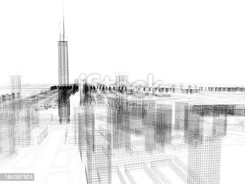 184405668 istock photo Skyscraper Building Architectural blueprint Wireframe 1 184397924