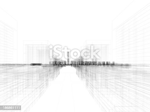 istock Skyscraper Building Architectural blueprint Wireframe 4 186861111