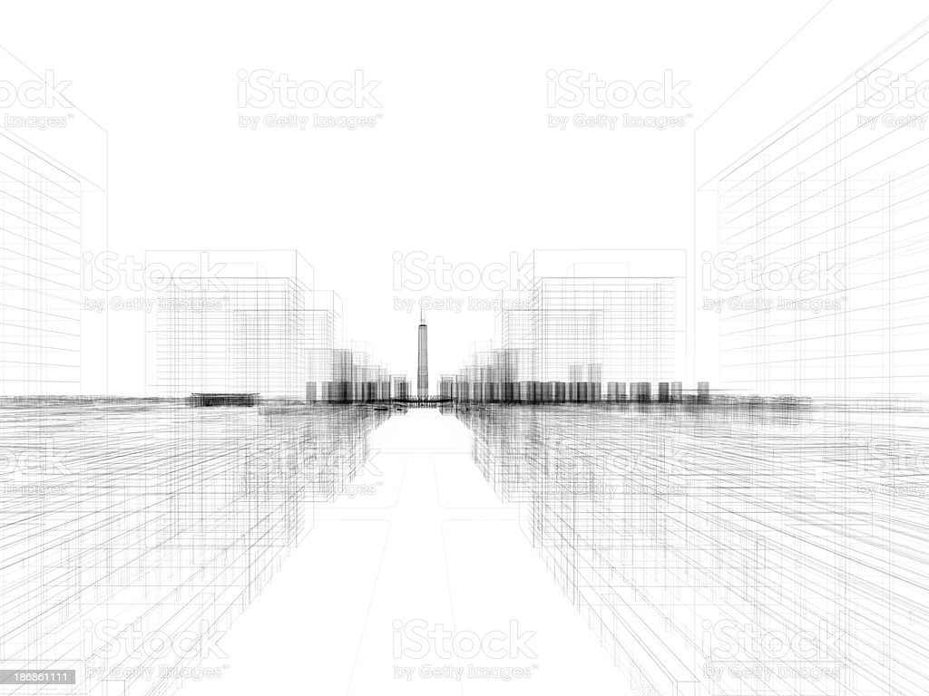 Skyscraper Building Architectural blueprint Wireframe 4 stock photo