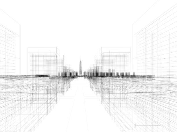 Skyscraper Building Architectural blueprint Wireframe 4 stock photo