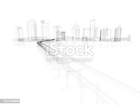 istock Skyscraper Building Architectural blueprint Wireframe 5 184405668