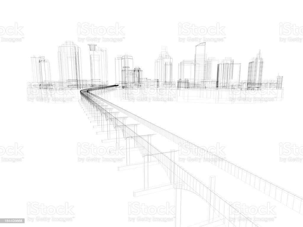 Skyscraper Building Architectural blueprint Wireframe 5 stock photo