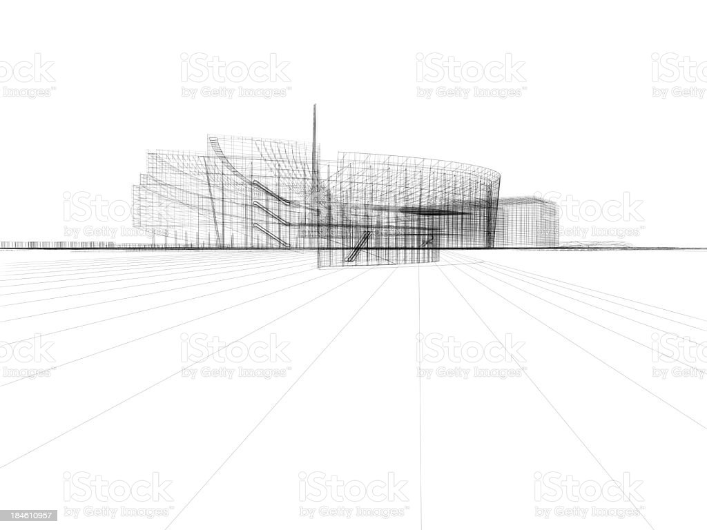 Skyscraper building architectural blueprint wireframe 6 stock photo skyscraper building architectural blueprint wireframe 6 royalty free stock photo malvernweather Image collections