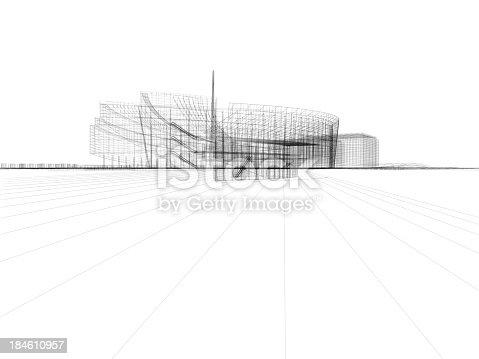507211099istockphoto Skyscraper Building Architectural blueprint Wireframe 6 184610957