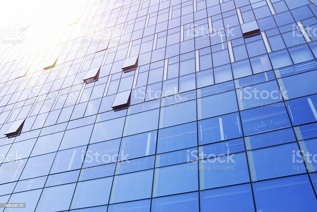 Skyscraper Building Exterior with windows background textured stock photo