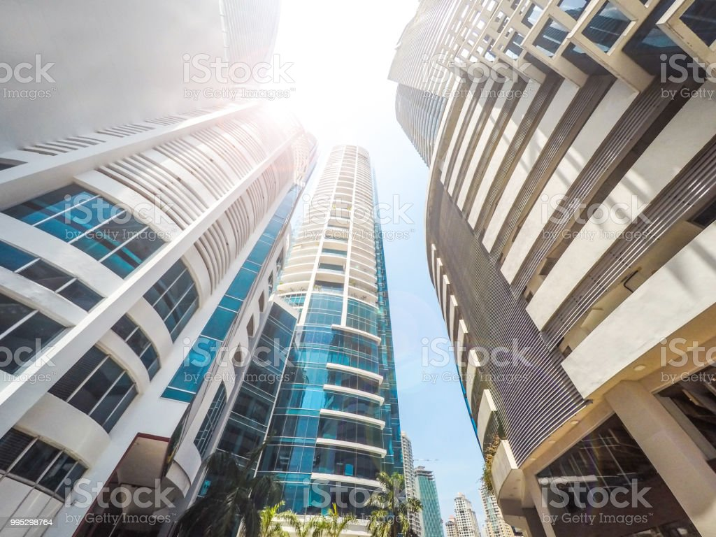 skyscraper buildings, looking up in downtown city stock photo