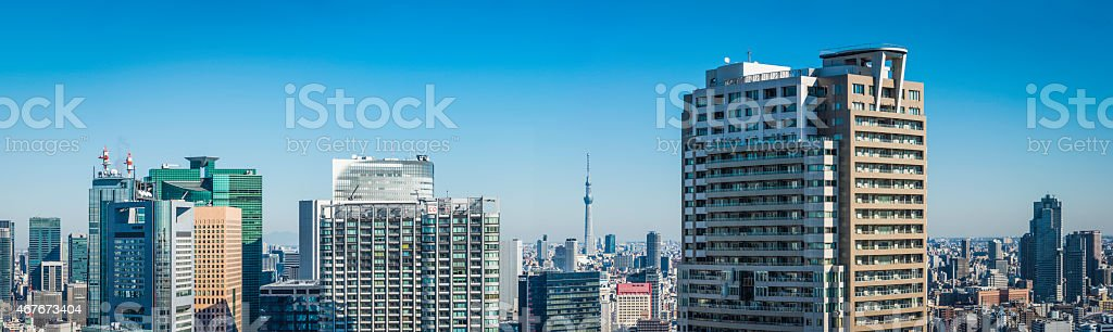 Skyscraper cityscape panorama downtown apartments crowded office towers Tokyo Japan stock photo