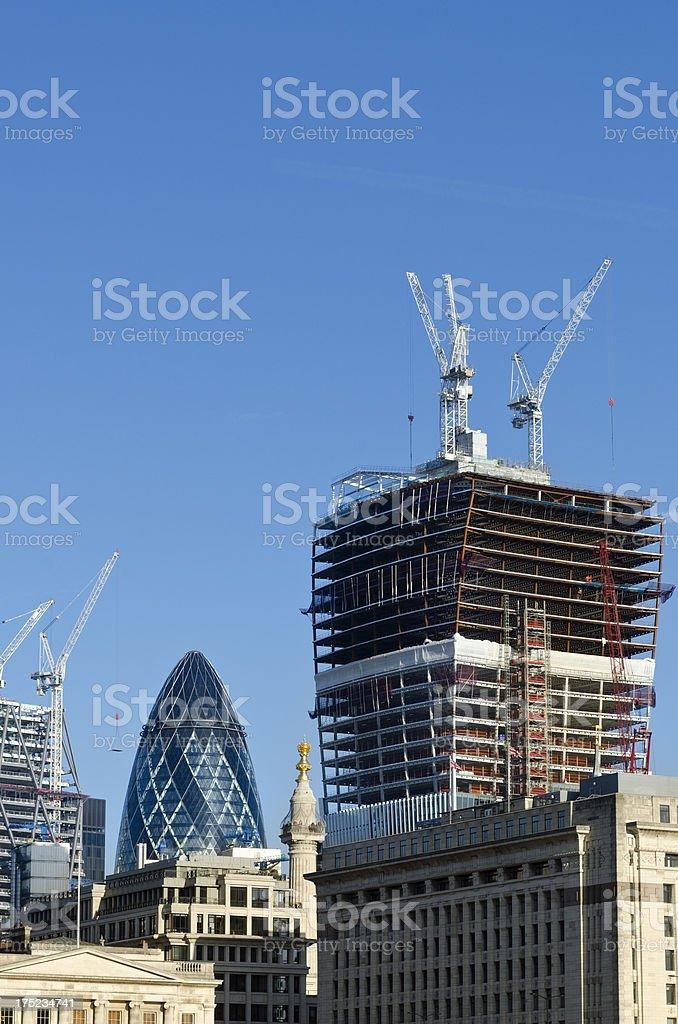 Skyscraper construction on the City of London skyline royalty-free stock photo