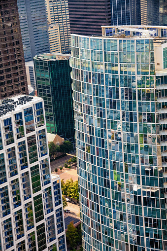 Close up aerial view of residential and commercial towers in the downtown district of Dallas, Texas.