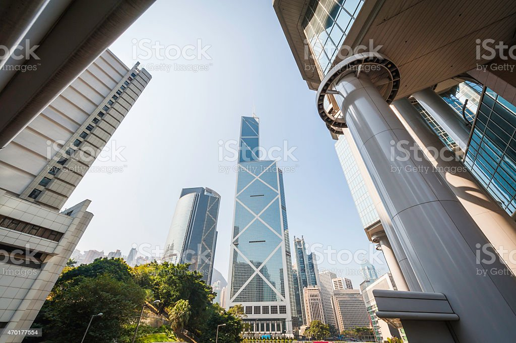 Skyscraper highrise cityscape modern urban downtown towers Hong Kong China stock photo