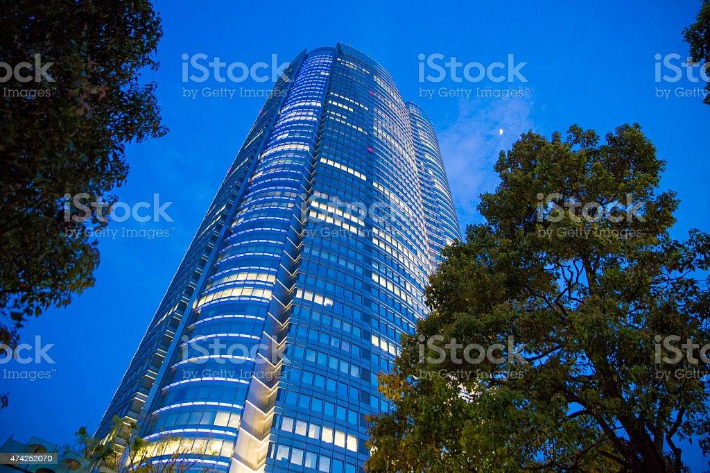 skyscraper in evening in Roppongi district, Tokyo, Japan stock photo