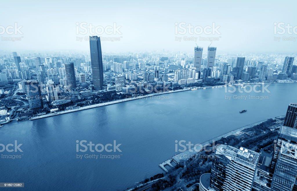 Skyscraper in Shanghai, China stock photo