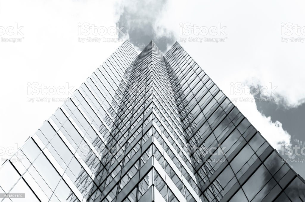 Skyscraper, low angle view of office buildings, copy space stock photo