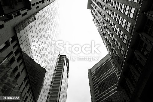 istock Skyscraper, low angle view of office buildings, copy space 914663388