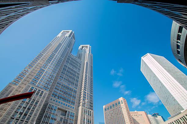 skyscraper modern business buildings centre, tokyo - политика и правительство стоковые фото и изображения