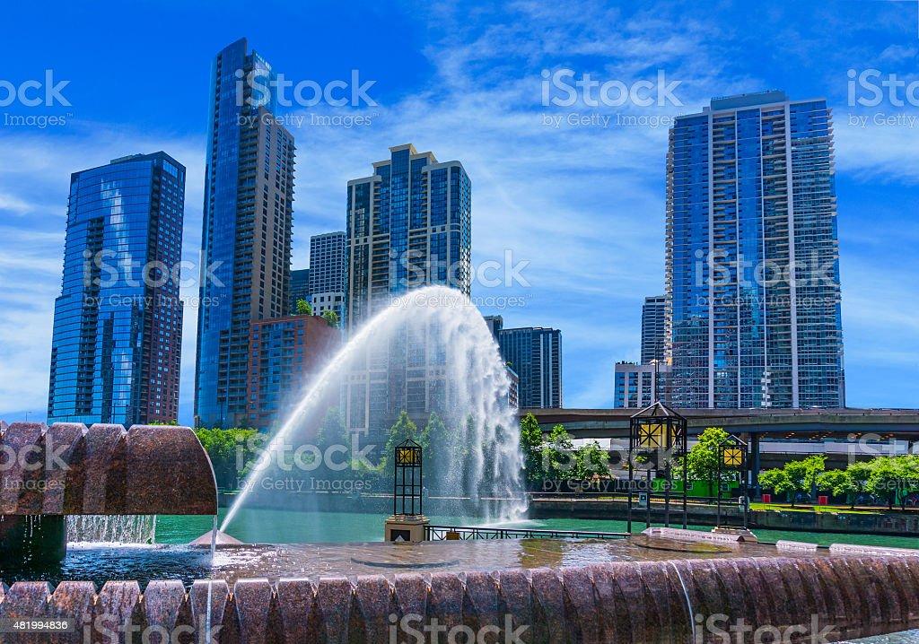 Skyscraper of Chicago skyline and Centennial Fountain, Ill (P) stock photo