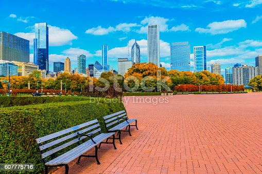 Chicago skyline with lush autumn foliage of Grant Park, Illinois