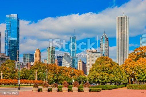 852738732istockphoto Skyscraper of Chicago Skyline and Grant Park,ILL 607871522