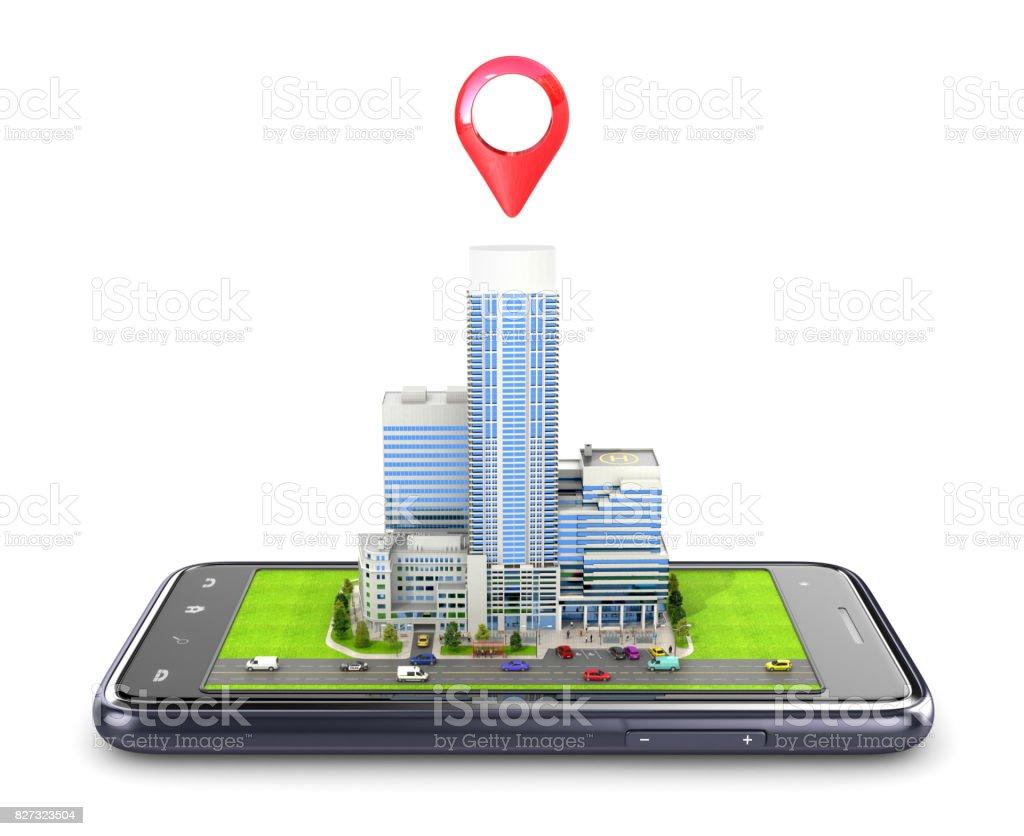 Skyscraper on a smartphone. GPS navigation. 3D illustration stock photo