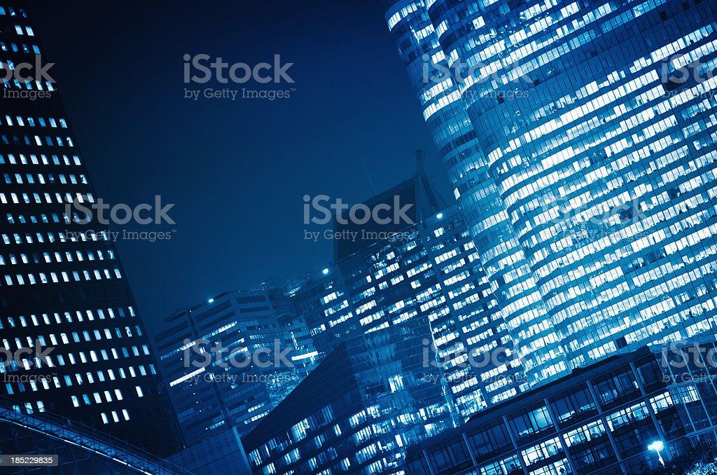 skyscraper on la defense district in the night royalty-free stock photo