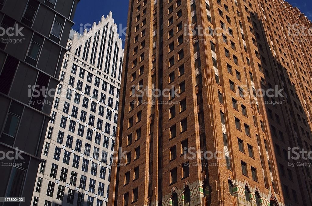 Skyscraper on Woodward Avenue in Detroit stock photo
