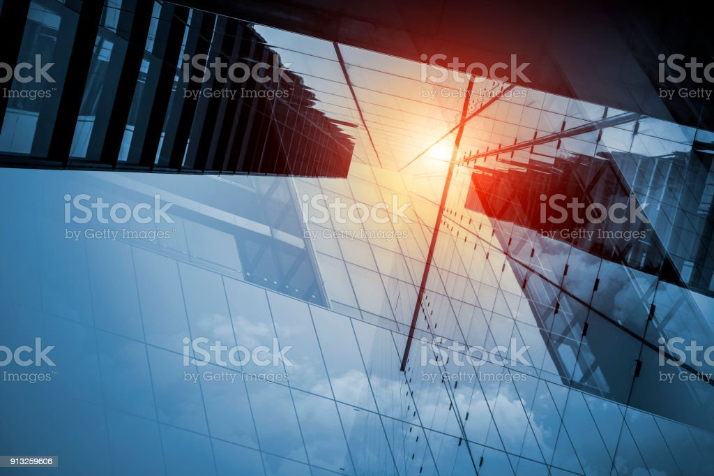 Skyscraper or modern building in the city with sunlight stock photo