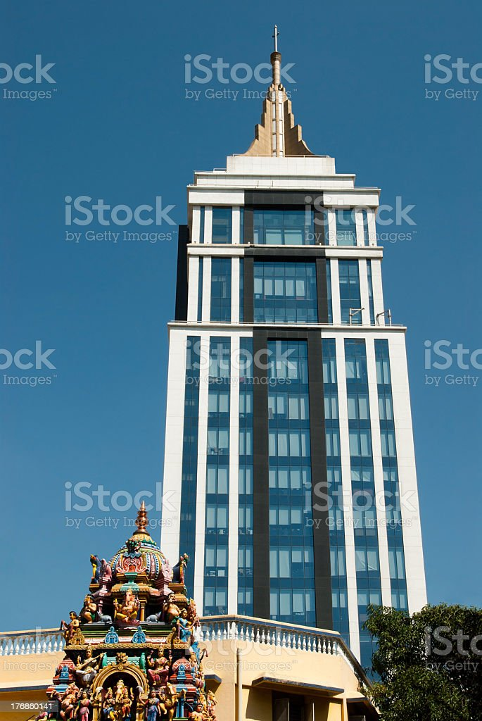 Skyscraper picture with a lovely blue sky behind it stock photo
