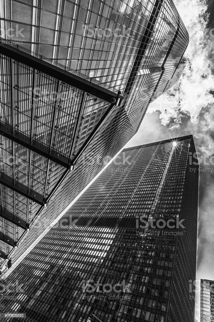 Skyscraper reaching sky stock photo