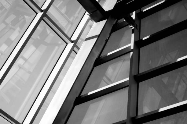 Skyscraper see from inside. Windows construction. stock photo