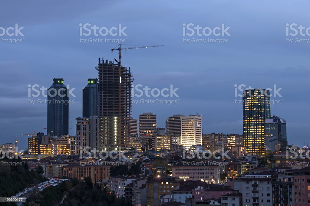 Skyscraper under construction at twilight royalty-free stock photo