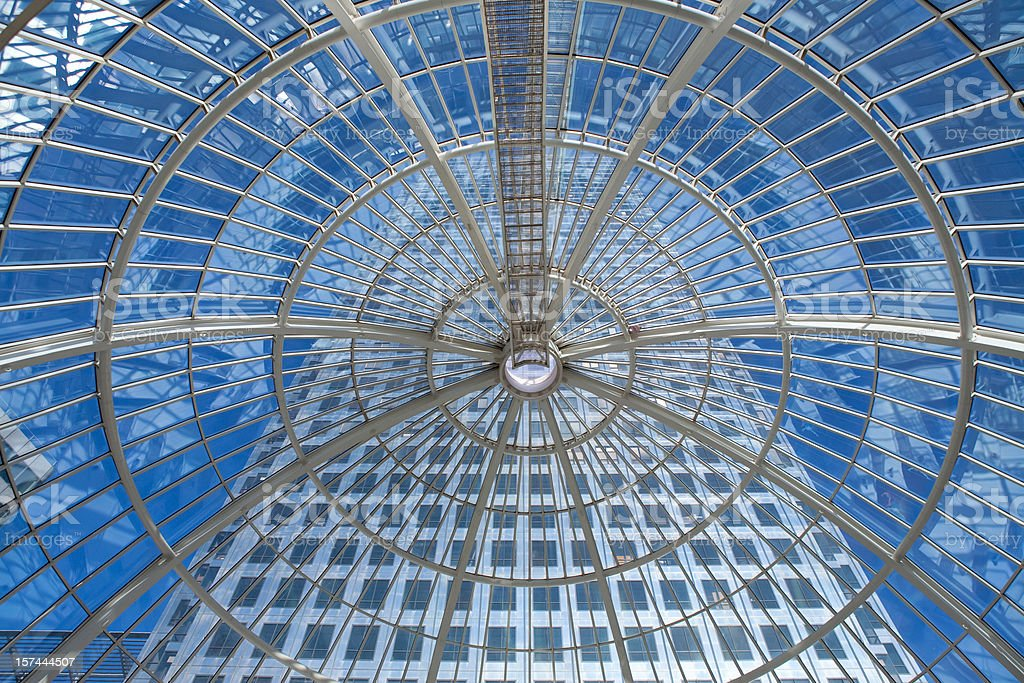 Skyscraper view from a glass dome royalty-free stock photo