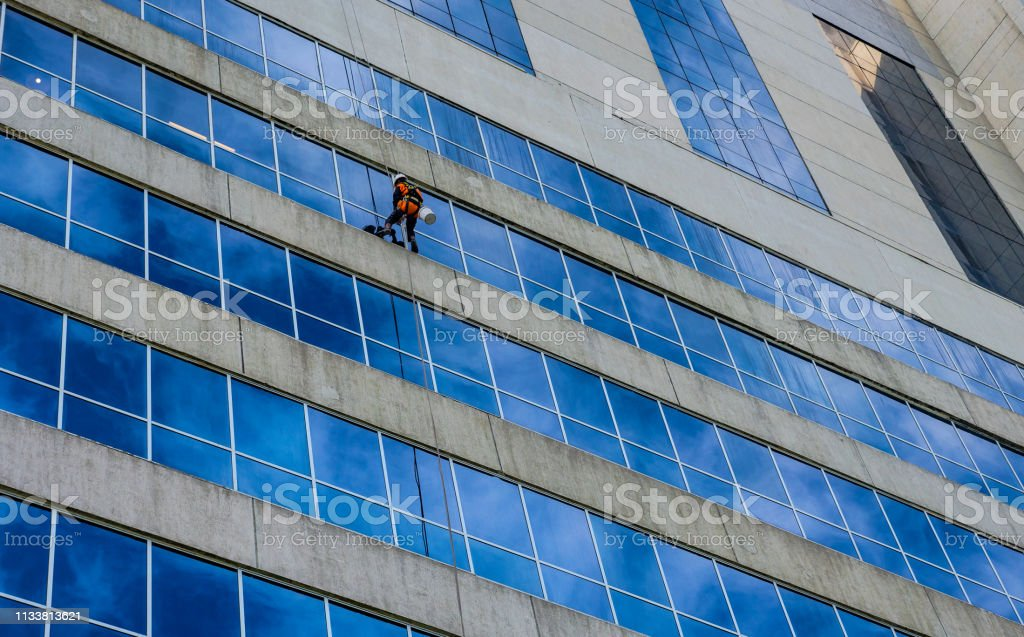 Skyscraper Window Cleaner stock photo