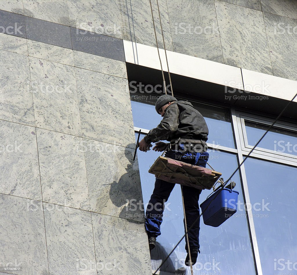 Skyscraper windows clearing, in series royalty-free stock photo