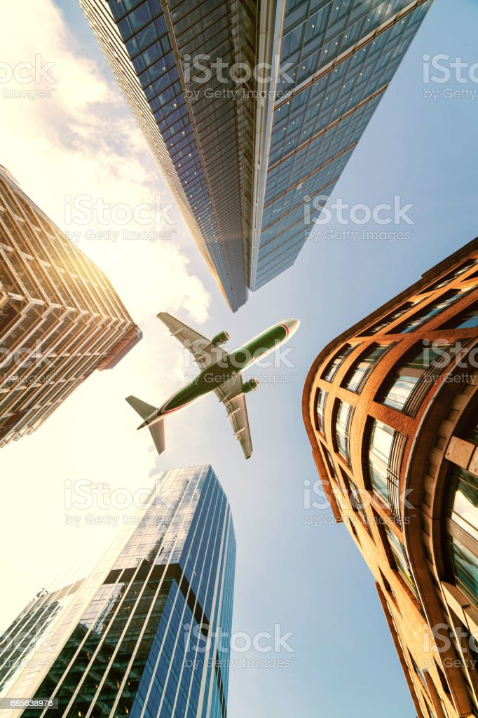 Skyscraper with a airplane royalty-free stock photo