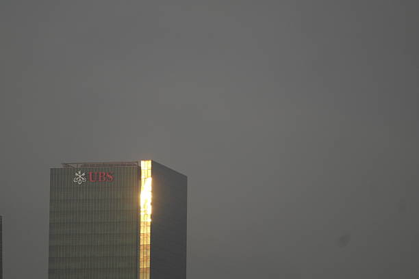 Skyscraper with UBS logo in Singapore stock photo