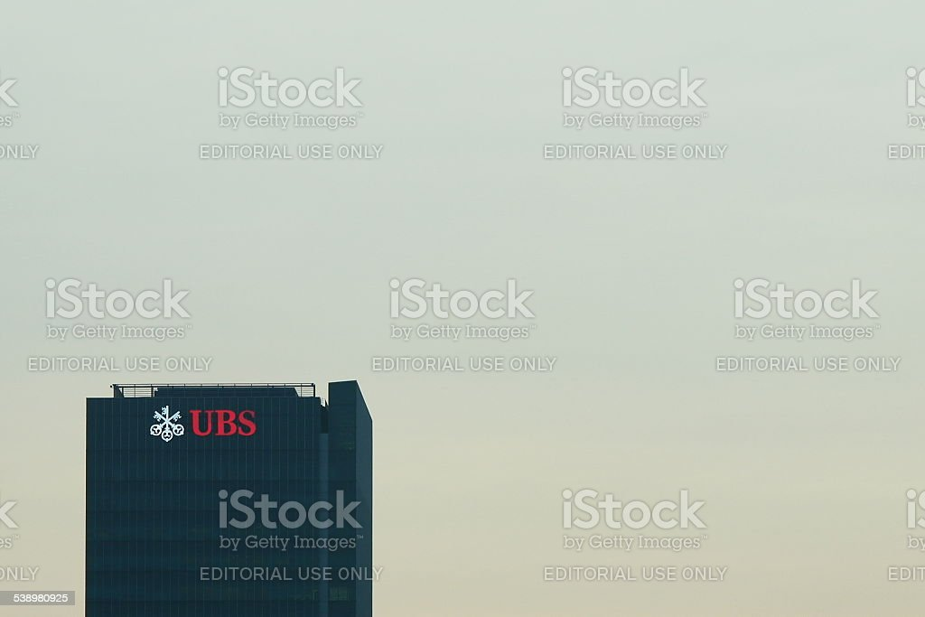 Skyscraper with UBS logo stock photo
