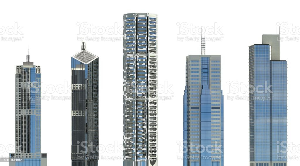 Skyscrapers 3D Illustration isolated on white background stock photo
