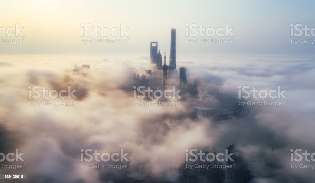 skyscrapers above the cloud in Shanghai stock photo