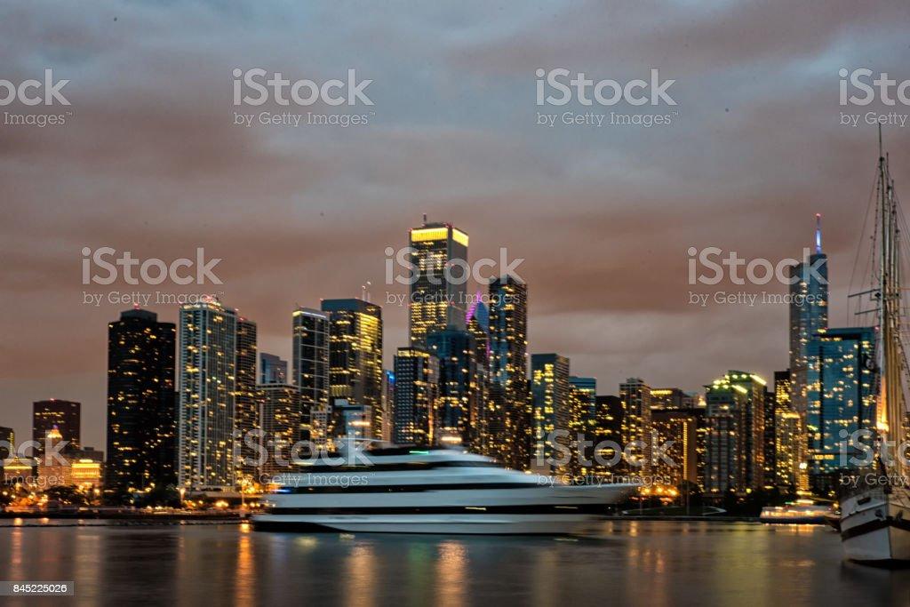 Skyscrapers along Lake Michigan stock photo