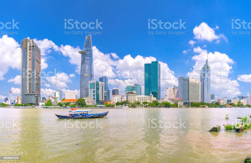 Skyscrapers along river with architecture office towers – Foto