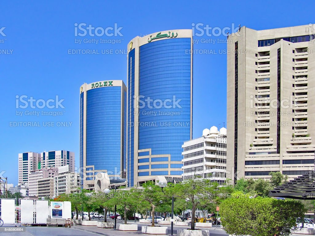 Skyscrapers along the Creek in Dubei in the United Arab Emirates (UAE) stock photo